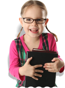 Little girl with glasses smiling